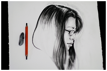 Charcoal Portrait Drawing on White Stonehenge Paper