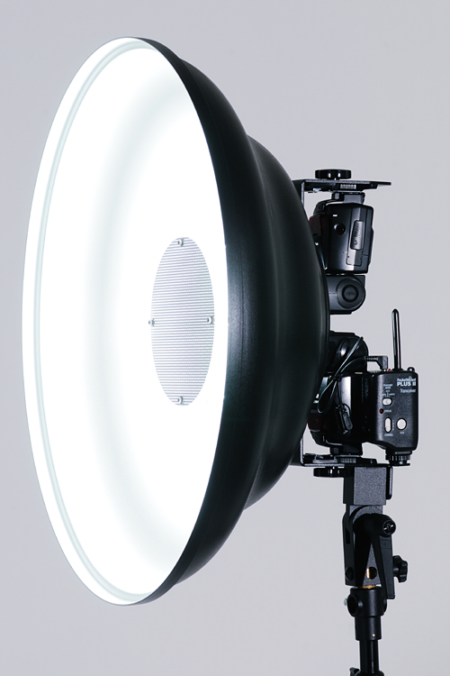 Mola Beauty Dish and Custom Twin Speedlight Bracket