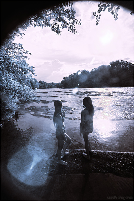 Infrared Photo of Two People looking at the Chattahoochee River