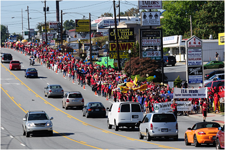 Photo of marchers in the annual TEA Walk on a stretch of Buford Hwy in Doraville