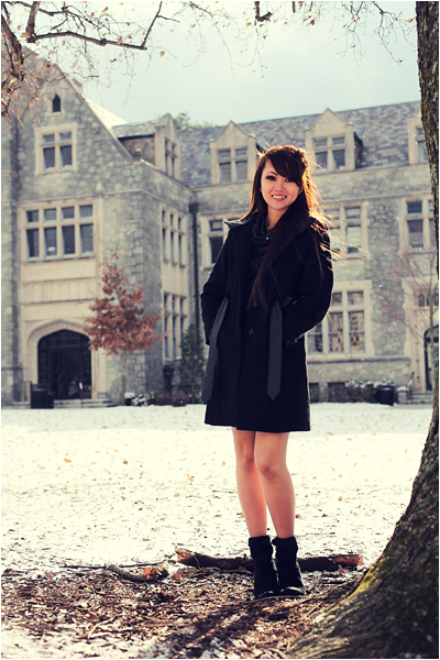 Photo of Young Woman in front of Olglethorpe University under a light Snow