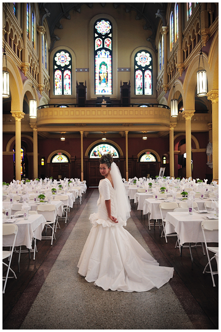 Photo of a Bride in the middle of Sacred Heart Cultural Center in Augusta Georgia