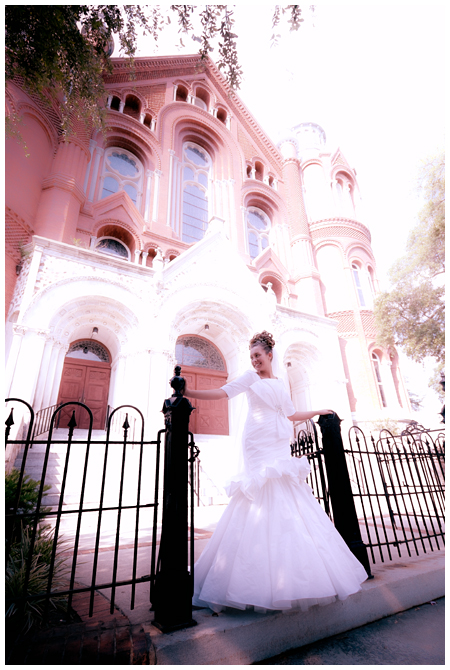Photo of a Bride in front of Sacred Heart Cultural Center in Augusta Georgia