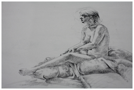 Figure Drawing of Seated Figure in Charcoal on Strathmore Newsprint