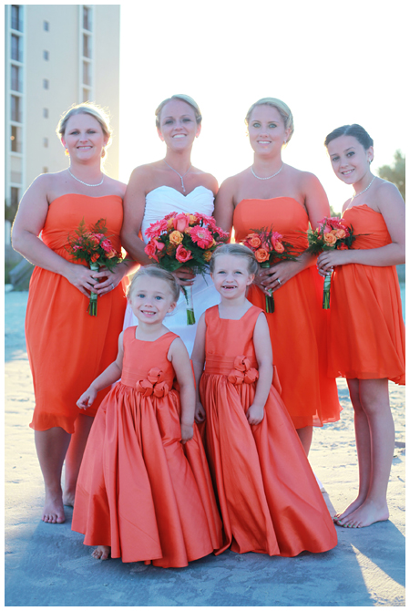 Bride and Bridesmaids and Flower Girls Dressed in Orange