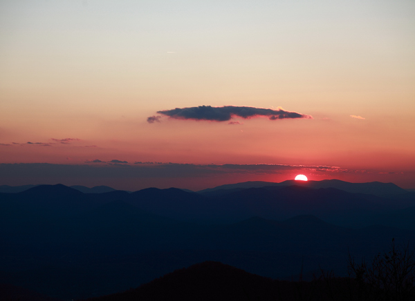 Sunset from atop Brasstown Bald, the highest point in Georgia.  This time of year, the sun sets around 7pm EST.